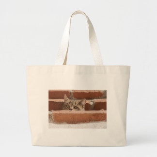 Cat Curious Young Cat Cat's Eyes Attention Wildcat Large Tote Bag