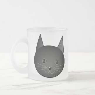 Cat. Cute black kitty. 10 Oz Frosted Glass Coffee Mug