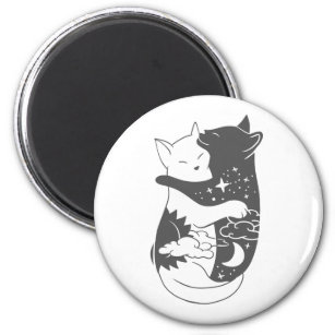 Cat day cat night illustration - Choose background Magnet