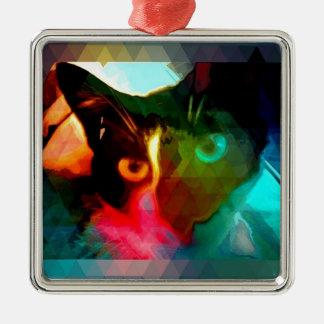 cat square metal christmas ornament