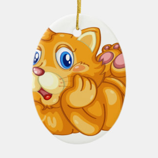 cat Double-Sided oval ceramic christmas ornament