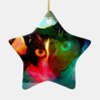 cat Double-Sided star ceramic christmas ornament