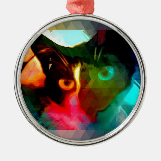 cat round metal christmas ornament