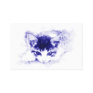 Cat, design/illustration. Pen, blue Canvas Print