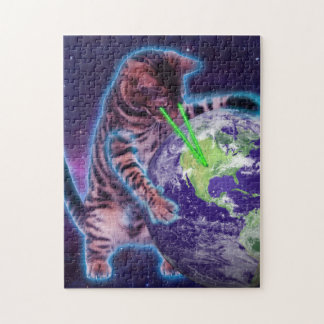 Cat destroying the world with eye laser jigsaw puzzle