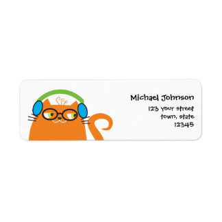 Cat DJ Orange Cute Funny Party Music Hipster Cool Return Address Label