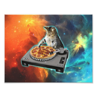 Cat dj with disc jockey's sound table photographic print