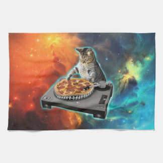 Cat dj with disc jockey's sound table tea towel