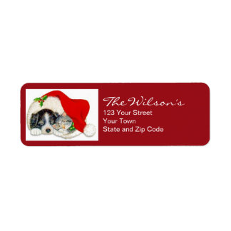Cat Dog Christmas Holiday Return Address Labels