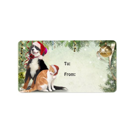 Cat & Dog Gift Tag Address Label