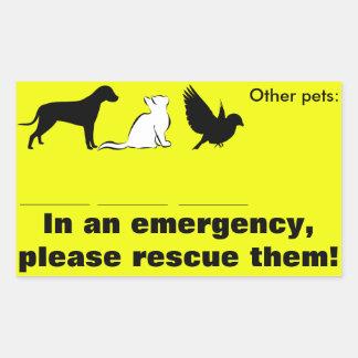 "Cat, dog, ""In emergency, rescue my pets"" Rectangular Sticker"