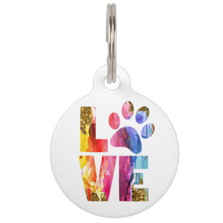 Cat, Dog Lover Paw. Watercolor Art. Customize Pet Tag