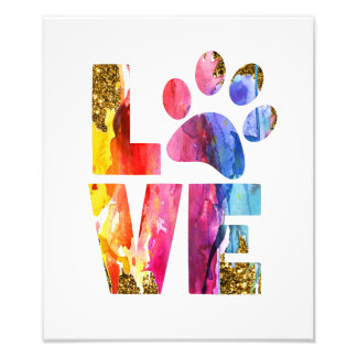 Cat Dog Lover Paw. Watercolor Art Photo Print