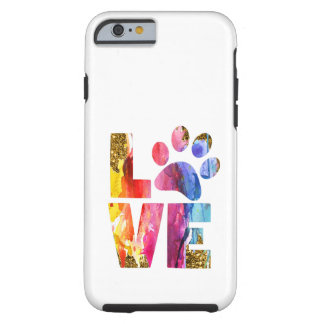 Cat Dog Lover Paw. Watercolor Art Tough iPhone 6 Case