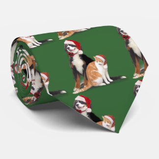 Cat & Dog with Santa Hats Tie