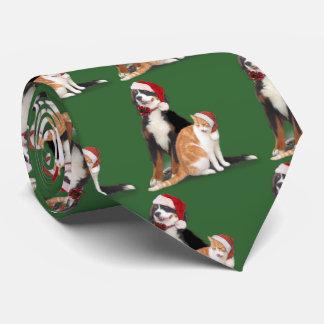 Cat & Dog with Santa Hats Tie