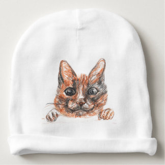 Cat drawing, cute kitten  Baby Cotton Beanie Baby Beanie