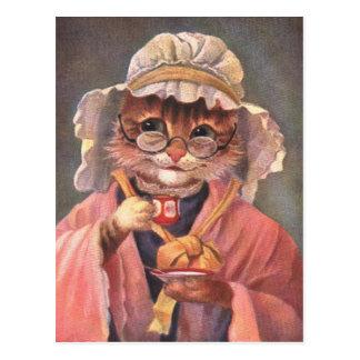 Cat Drinking Tea Vintage early 1900's Postcard