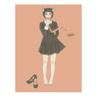 Cat ear black wanpi & necktie postcard
