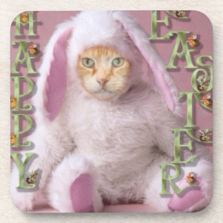 Cat Easter Bunny Claude Coaster