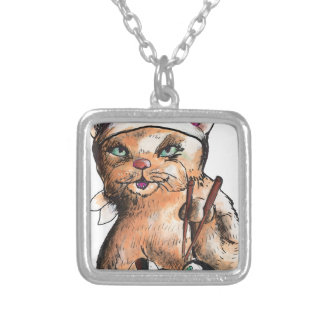 cat eating sushi silver plated necklace