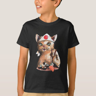 cat eating sushi T-Shirt