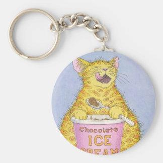 CAT eats ice cream Basic Round Button Key Ring