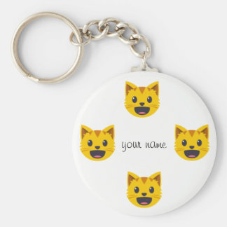 """Cat Emoji Face  and '' Your Name Here """" Key Ring"""