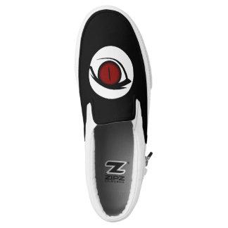 Cat Eye Red Evil Your Text on Back Slip On Sneaker