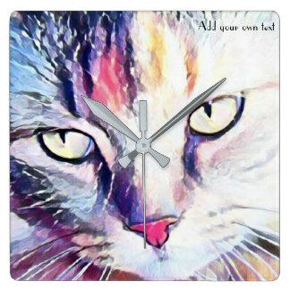 cat eyes art clock