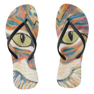 cat eyes print flip flops