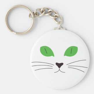 Cat Face Basic Round Button Key Ring