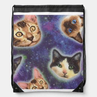 cat face - cat - funny cats - cat space drawstring bag