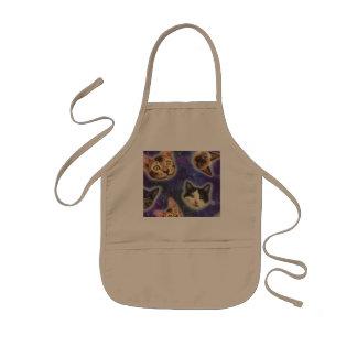 cat face - cat - funny cats - cat space kids apron