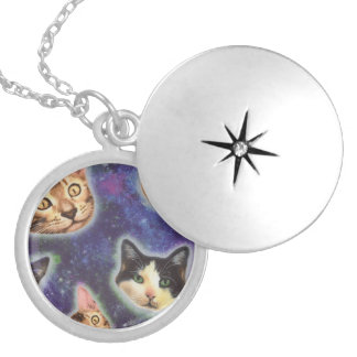 cat face - cat - funny cats - cat space locket necklace