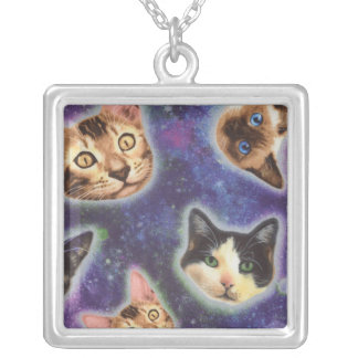 cat face - cat - funny cats - cat space silver plated necklace