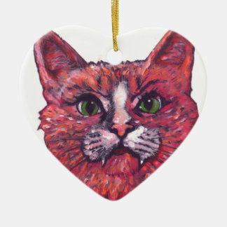 Cat Face Ceramic Heart Decoration