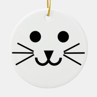 Cat Face Ceramic Ornament