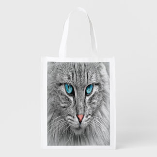 Cat face close-up, custom family pet photo reusable grocery bag