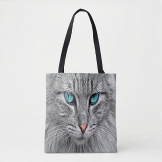 Cat face close-up custom family pet photo tote bag