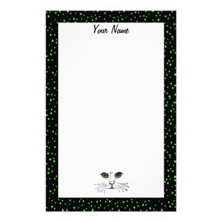 Cat Face Drawing Vibrant Green Eyes Dotted Border Personalised Stationery