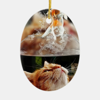 Cat Face Goldfish Glass Close View Eyes Portrait Ceramic Ornament