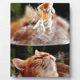 Cat Face Goldfish Glass Close View Eyes Portrait Plaque