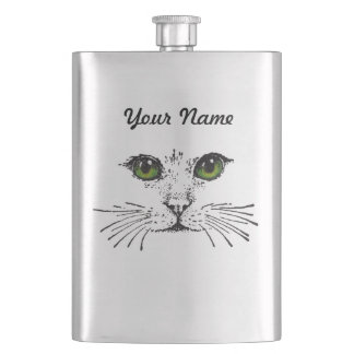 Cat Face Green Eyes Whiskers Flasks