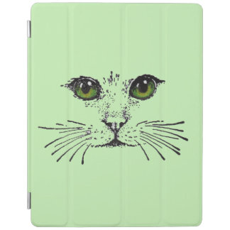 Cat Face Green Eyes Whiskers iPad Cover