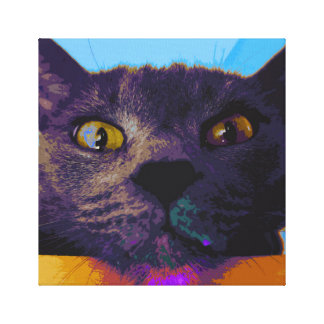 Cat Face Pop Art Canvas Print