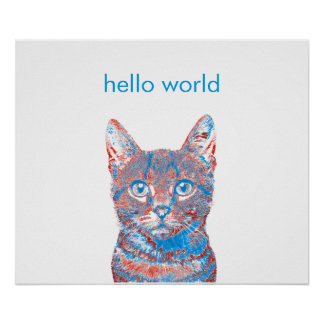 Cat Face Poster with Customizable Caption