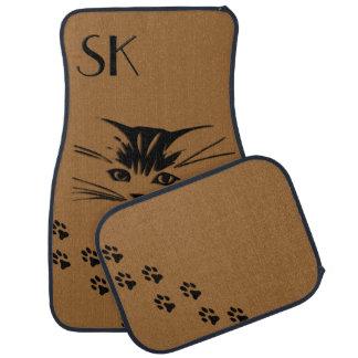 Cat Face Prints Monogram Brown Car Floor Mats Car Mat