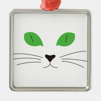 Cat Face Silver-Colored Square Decoration