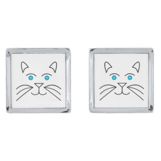 Cat face silver finish cuff links